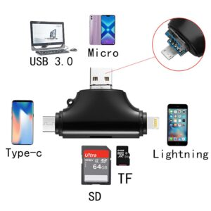 4 in 1 Card Reader SD Tf Card Reader & USB C Micro SD Card Adapter for Computer iPhone iPad Galaxy S8 Android Mac,Micro USB 3.0