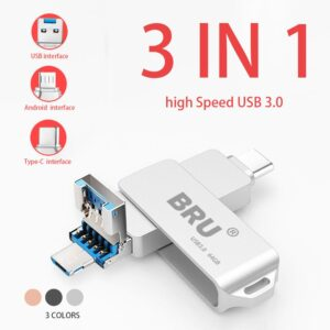 BRU 3 In 1 Otg Usb Flash Drive 3.0 For Android Type-c High Speed Pen Drive Type C Usb Stick 16gb 32gb 64gb 128gb 256gb Pendrive